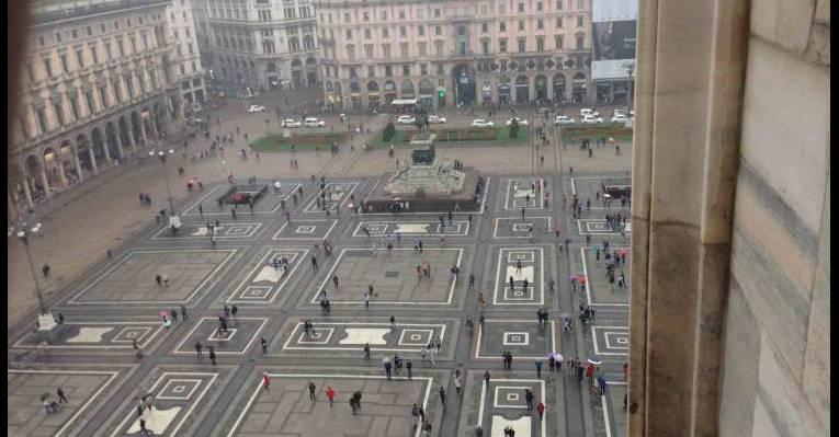 Вид с крыши на площадь