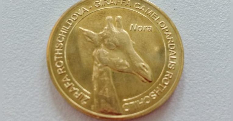 монетка с жирафом
