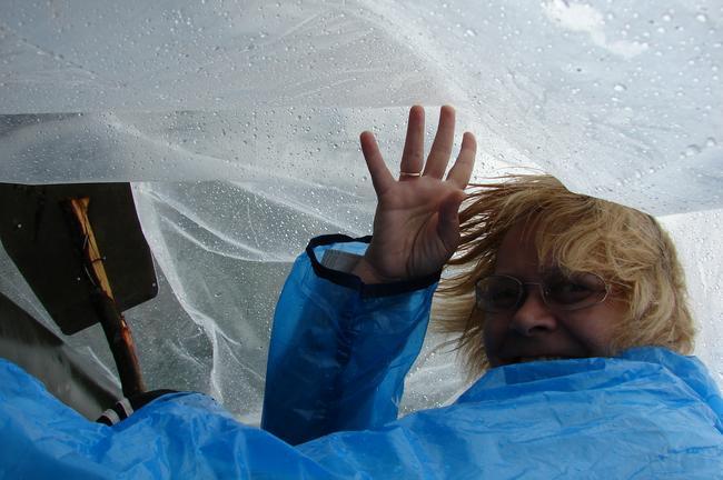 Это я под «зонтом» из п/пленки