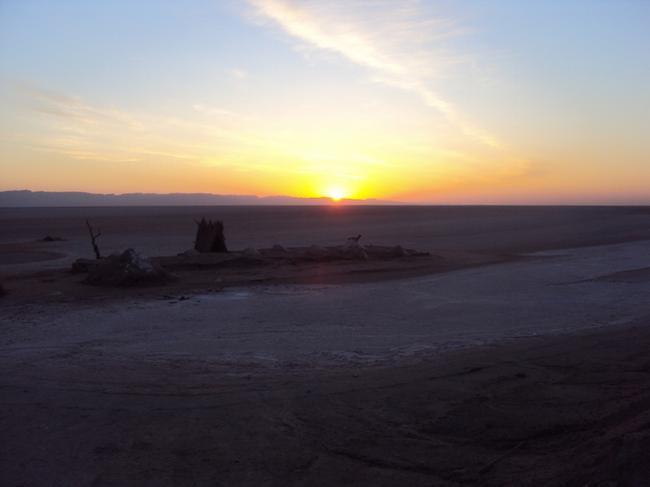 Рассвет на солёном озере Шотт-Эль-Джерид