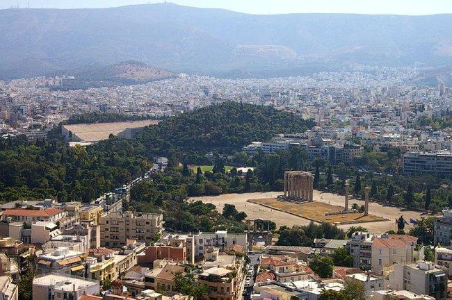 Афины. Акрополь. Вид на город и на Храм Зевса