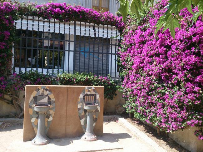 Цветочная изгородь и фонтанчики