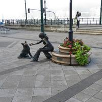 Girl With Her Dog Statue